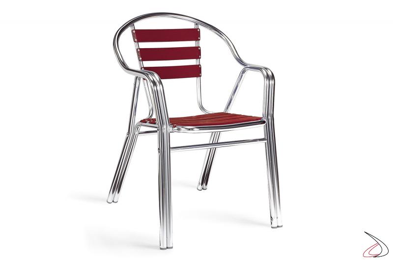 Sedia con braccioli da sotto portico con doghe in alluminio deco-bordeaux