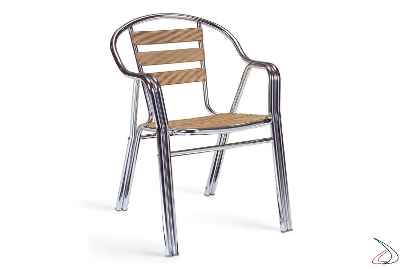 Sedia da esterno con doghe seduta in alluminio deco-bambù