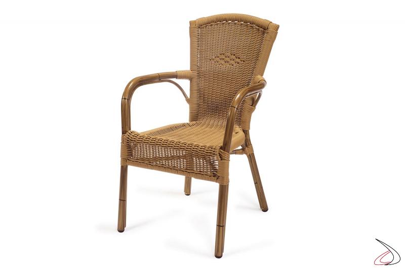 Sedia con braccioli da giardino verniciato deco bambù con seduta colore avana