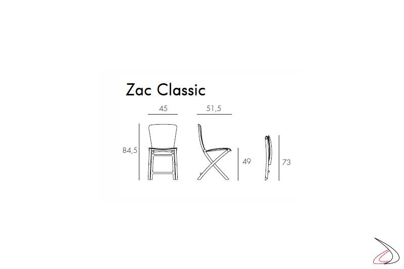 Nardi Garden sedia pieghevole Zac Classic, misure