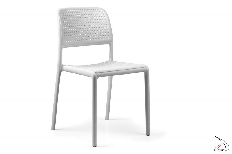 Sedia in polipropilene di colore bianco Bora Bristot