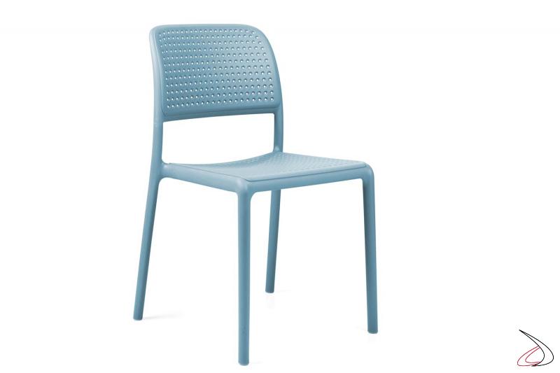 Sedia in polipropilene di colore celeste Bora Bristot