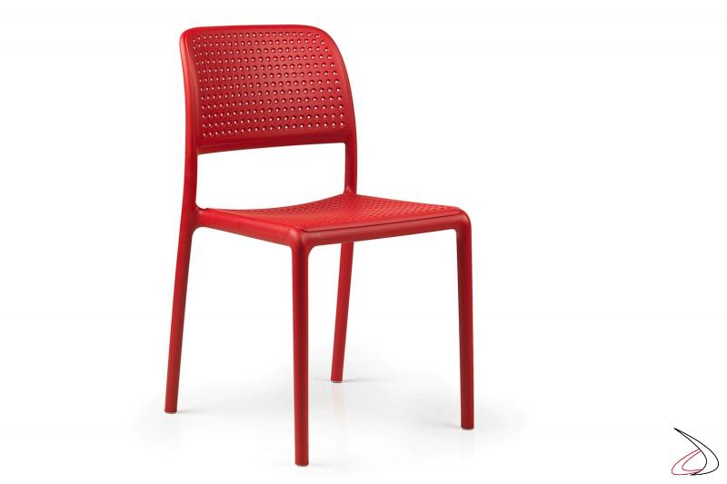 Sedia in polipropilene di colore rosso Bora Bristot