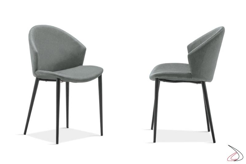 Sedie da soggiorno di design con schienale curvo imbottito rivestito in tessuto