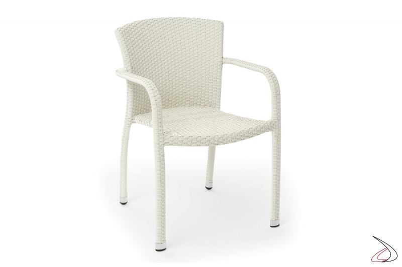 Sedia da terrazzo esterno in vimini sintetico colore bianco