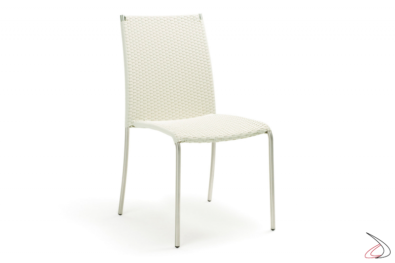 Sedia con ampia seduta in vimini sintetico colore bianco