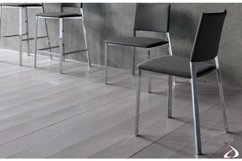 Sedie moderne da cucina e soggiorno con schienale e seduta imbottite