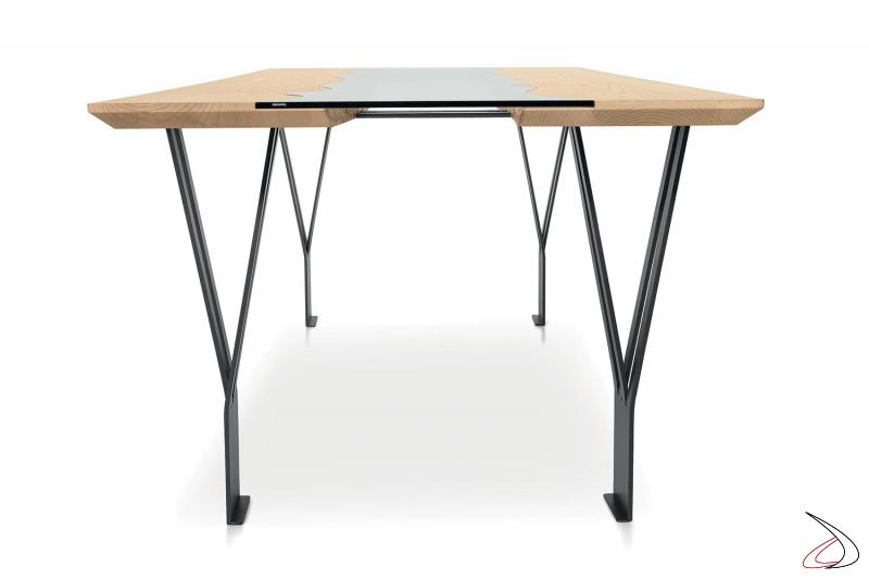 Tavolo di design per 10 persone con piano in legno e vetro trasparente