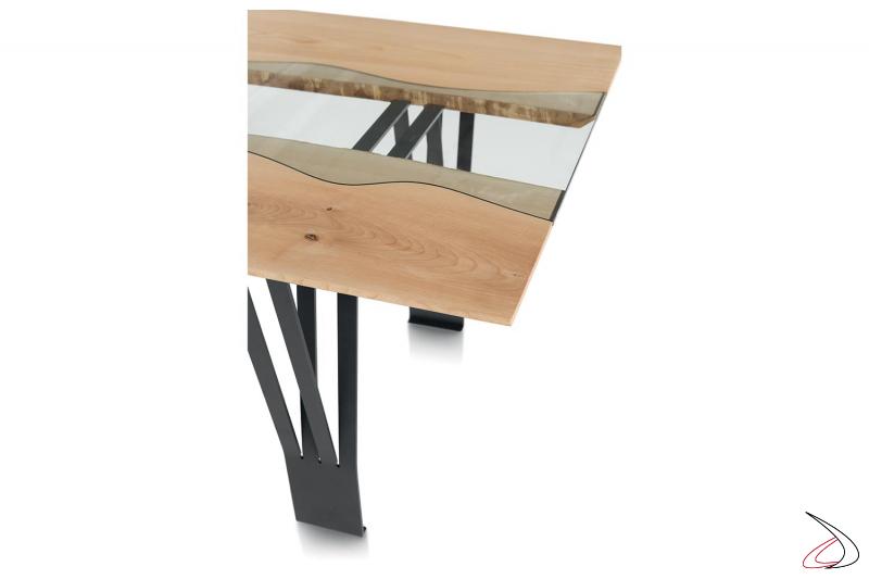 Tavolo da soggiorno per 10 persone con inserto centrale in vetro trasparente