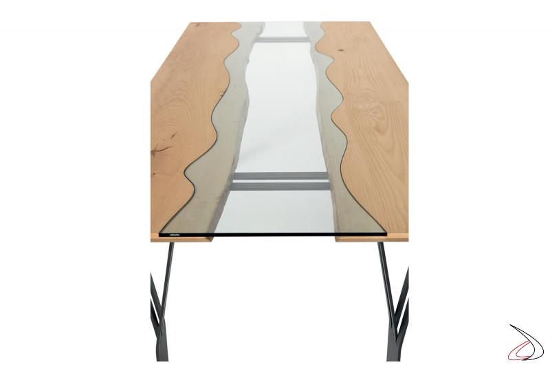 Tavolo da pranzo per 10 posti a sedere con piano in legno e vetro