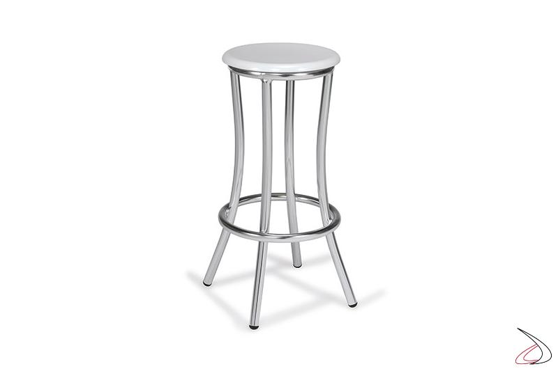 Sgabello alto da arredo bar in colore bianco