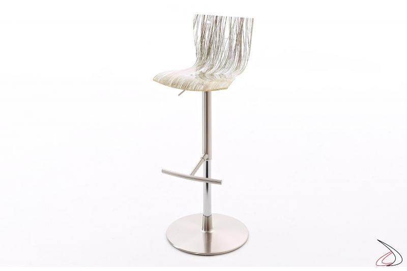 Sgabello regolabile in altezza di design con seduta trasparente con effetto erba