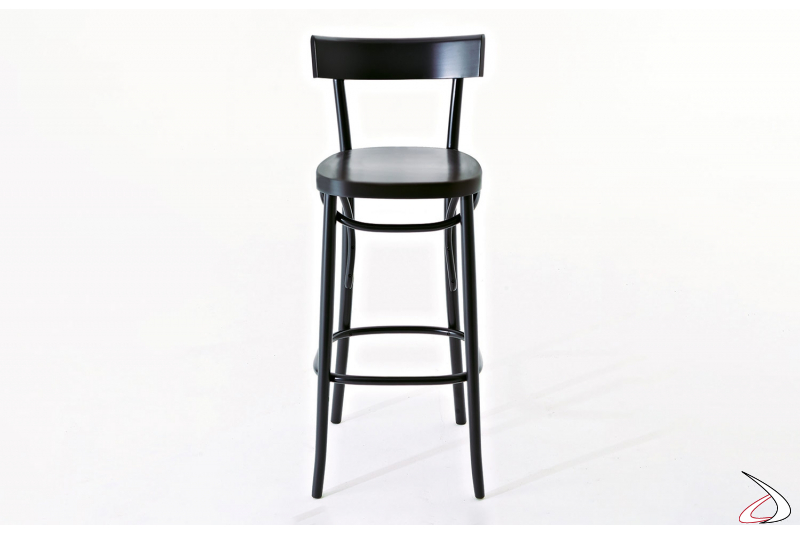 Sgabello nero in legno di faggio di design con schienale alto e poggiapiedi