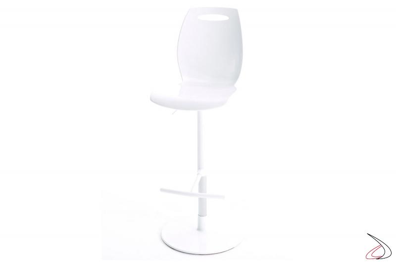Sgabello bianco di design girevole e regolabile in altezza con schienale alto