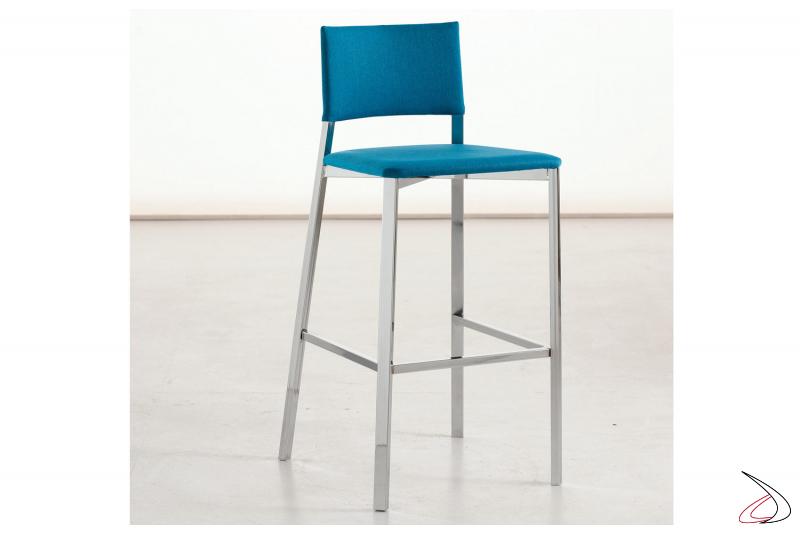 Sgabello alto design con schienale e seduta imbottita