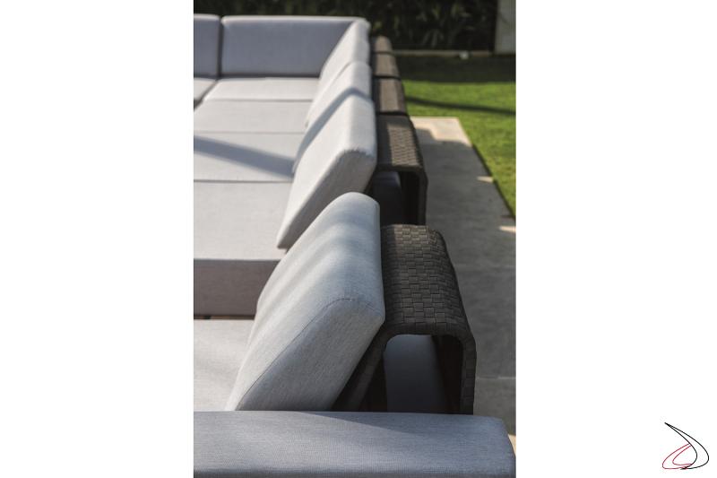 Divano moderno componibile da giardino con schienale intrecciato in alluminio