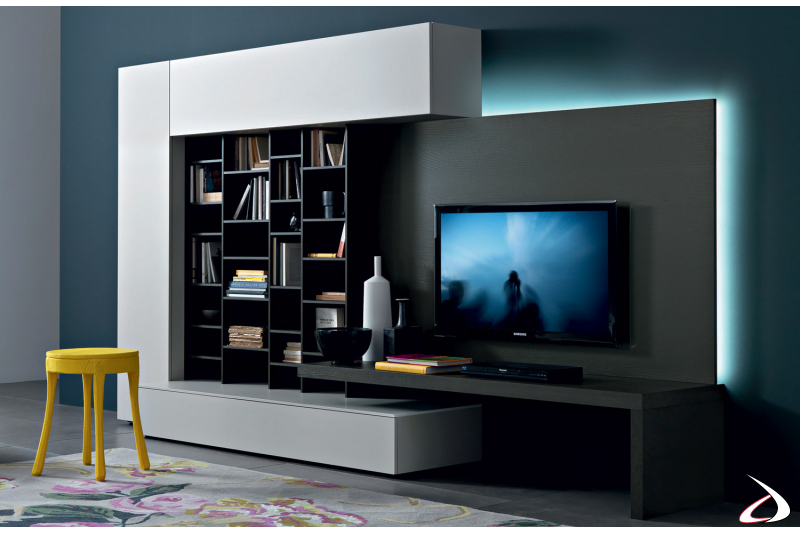 modern living room with TV holder panel with LED lighting
