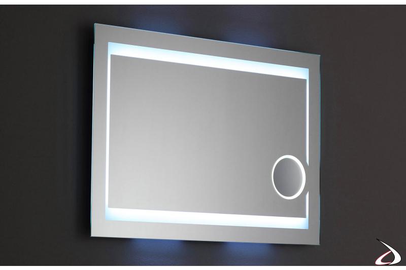 Specchio retroilluminato con ingranditore 3X e luce led