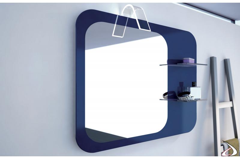 Specchiera con lampada e mensole in vetro