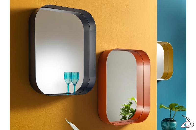 Specchiere porta oggetti con angoli arrotondati