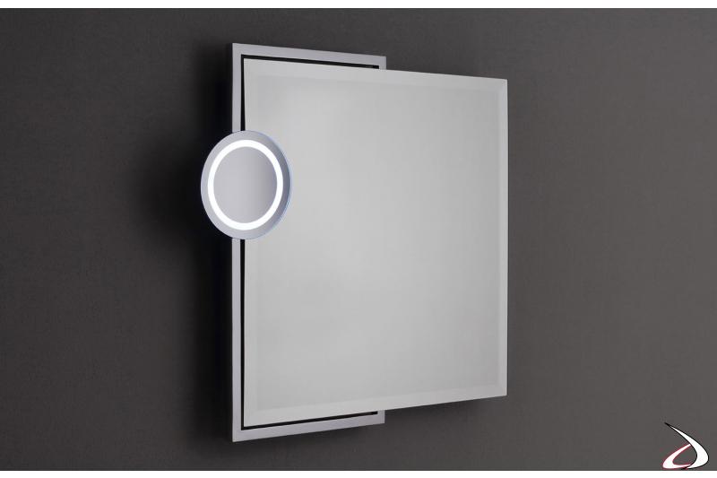 Specchio con ingranditore illuminato 3X orientabile