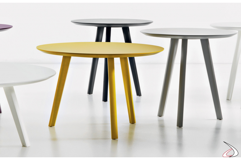 Colorful wooden tables