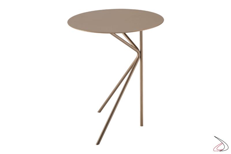 Tavolino in metallo rotondo da fianco divano