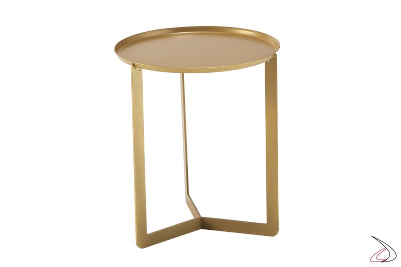 Tavolino alto piccolo in metallo rotondo