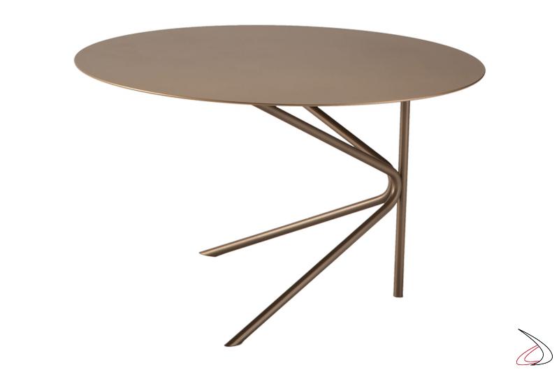 Tavolino basso rotondo di design in metallo moderno