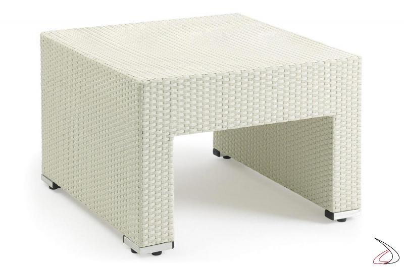 Tavolino in vimini sintetico da esterno in colore bianco