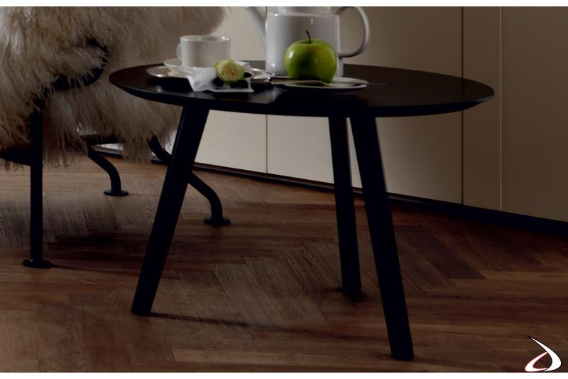 Tavolino moderno rotondo in laccato nero