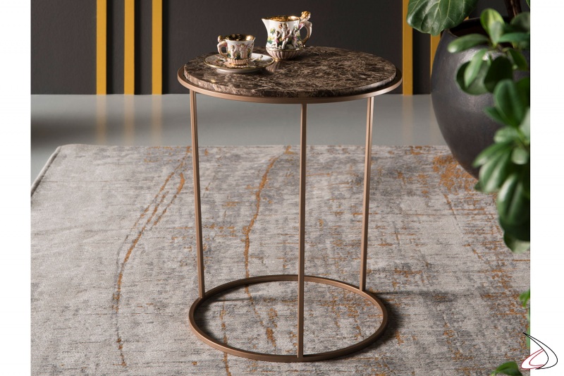 Tavolino rotondo in elegante marmo marrone da soggiorno