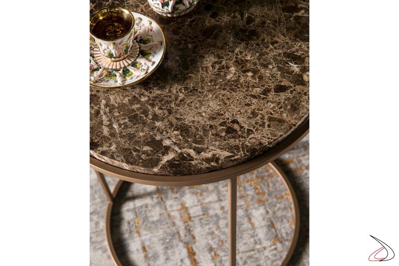 Tavolino da soggiorno rotondo in marmo