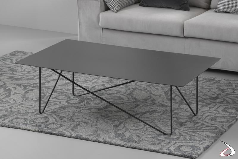 Tavolino rettangolare in acciaio Shape.