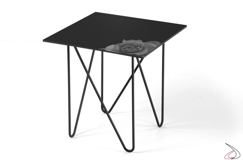 Tavolino Shape piccolo quadrato con pianco in vetro fiore nero.