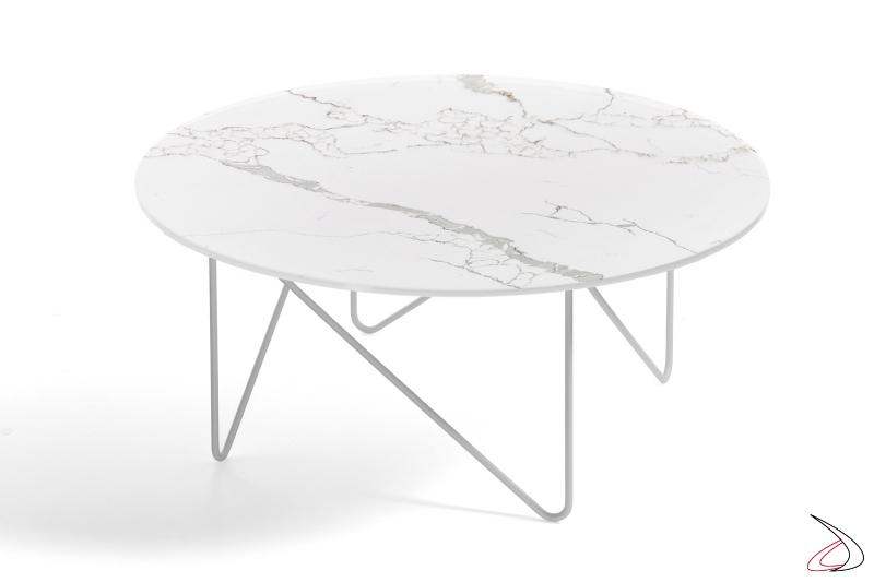 Tavolino Shape rotondo con piano in vetro finitura marmo bianco fiorentino.