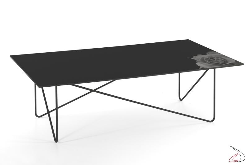 Tavolino Shape rettangolare con piano in vetro fiore nero.