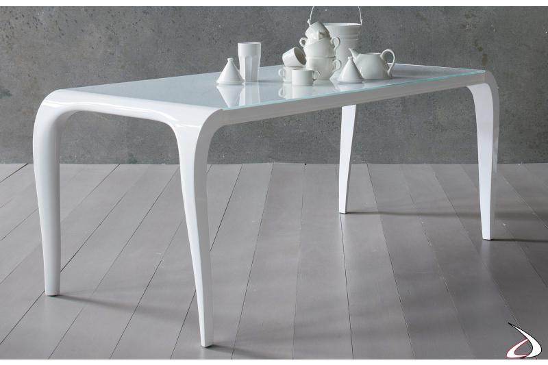 Tavolo da pranzo con piano in vetro bianco