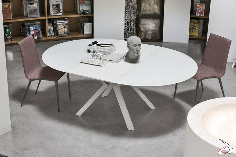 Tavolo design rotondo allungabile bianco Vitrix
