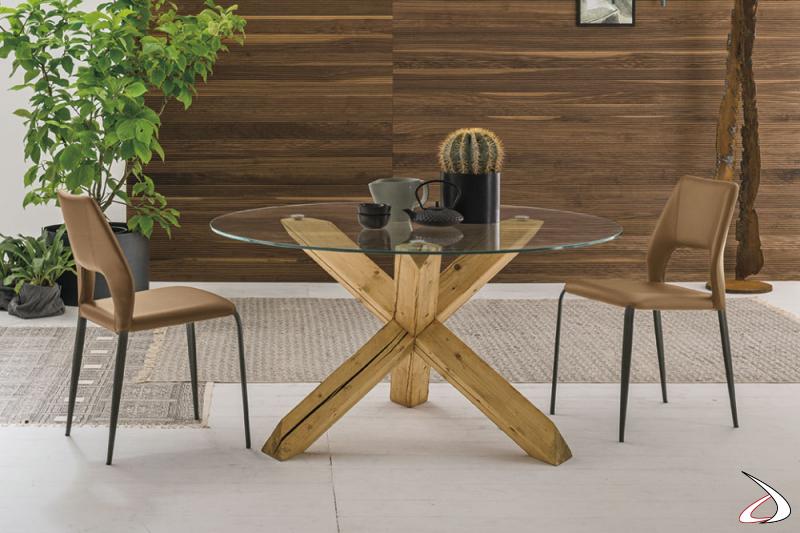 Tavolo di design rotondo con basamento in legno Lord