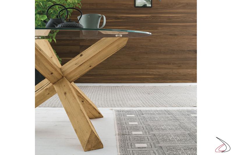 Basamento in legno e piano in vetro