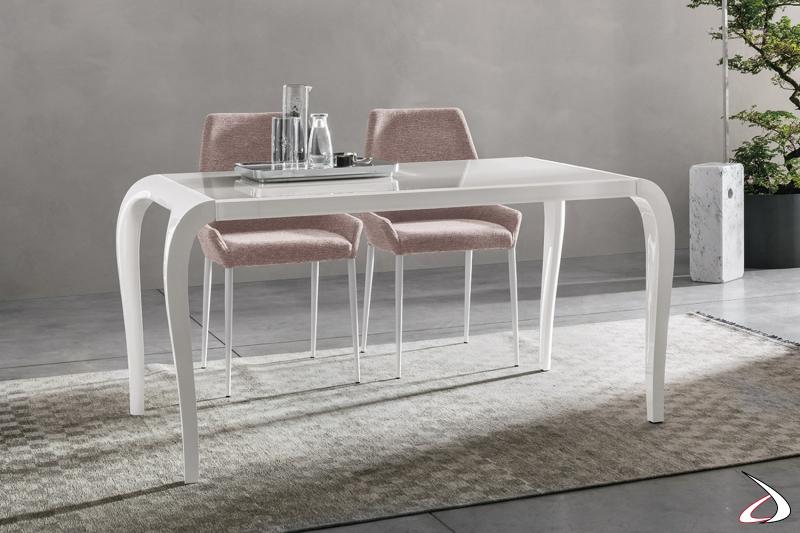 Tavolo da pranzo con piano in vetro bianco Ginevra