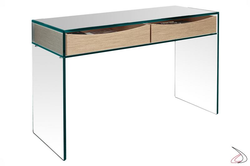 Consolle in vetro temperato moderno ed elegante, dal design essenziale, con ripiano. Disponibile con cassetti in rovere.