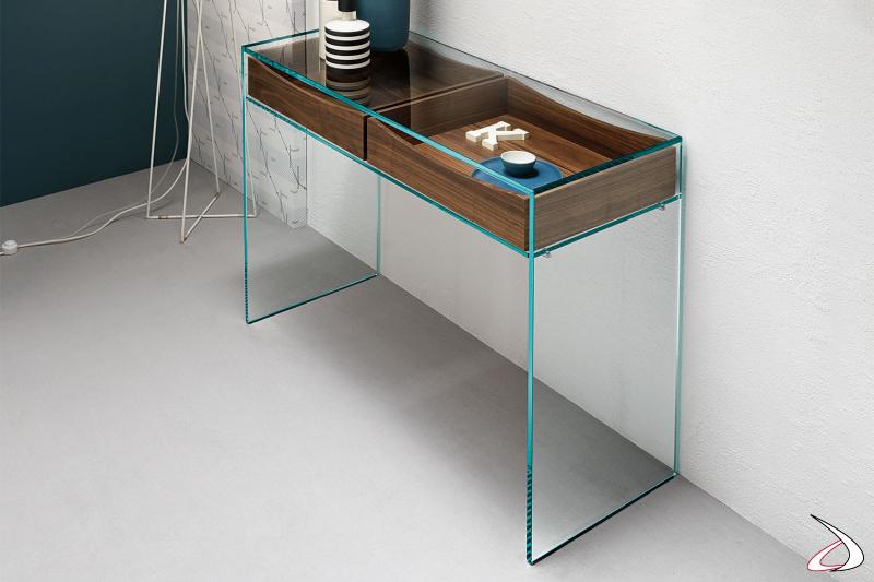 Consolle rettangolare semplice e versatile con ripiano in vetro temperato e cassetti in noce.