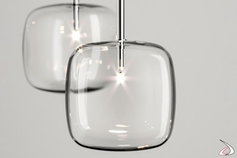 Lampada moderna e di design a sospensione a luce LED, in vetro.