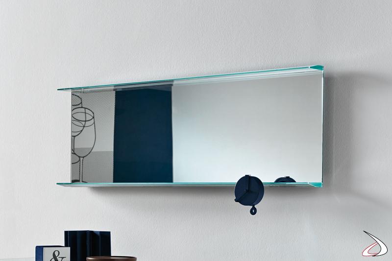 Specchiere a parete rettangolare moderna con particolare cornice in vetro extrachiaro con bisellatura.