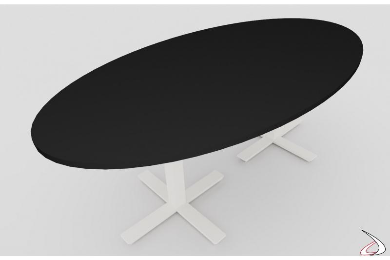 Tavolo meeting nero ellittico moderno con gambe bianche a croce