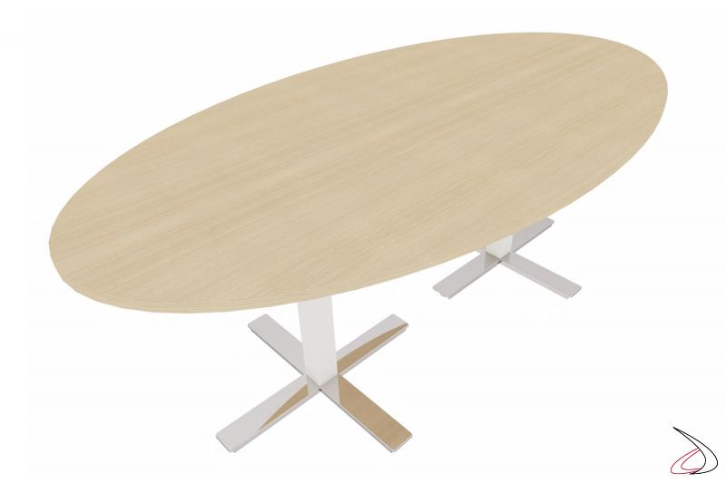 Tavolo riunioni ovale moderno in melaminico rovere naturale