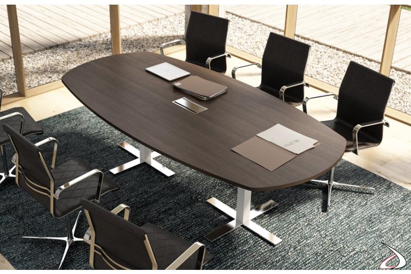 Tavolo meeting ellittico moderno con top access e piedini cromati