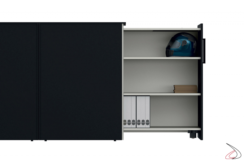 Cassettiera ufficio alta di design con anta estraibile e ripiani